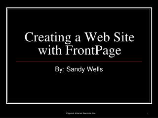 Creating a Web Site with FrontPage