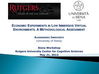 E conomic  Experiments in Low Immersive Virtual Environments. A Methodological Assessment