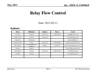 Relay Flow Control
