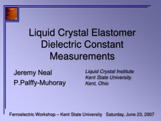 Liquid Crystal Elastomer Dielectric Constant Measurements