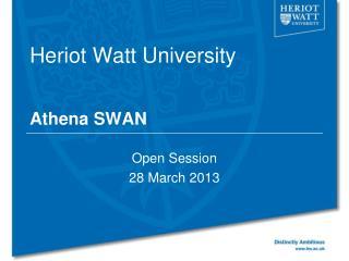 Heriot Watt University Athena SWAN