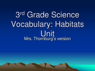 3 rd  Grade Science Vocabulary: Habitats Unit