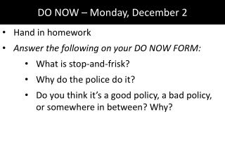 DO NOW – Monday, December 2