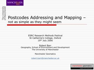 Postcodes Addressing and Mapping – not as simple as they might seem