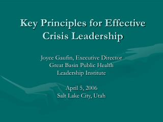 Key Principles for Effective Crisis Leadership