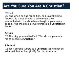 Are You Sure You Are A Christian?