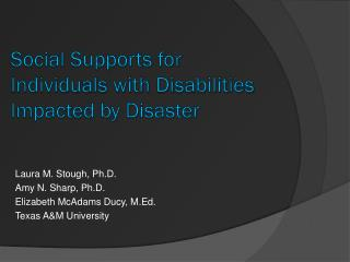 Social Supports for Individuals with Disabilities Impacted by Disaster