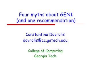 Four myths about GENI  (and one recommendation)