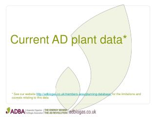 Current AD plant data*