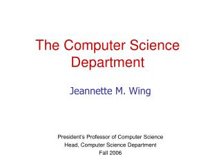 The Computer Science Department