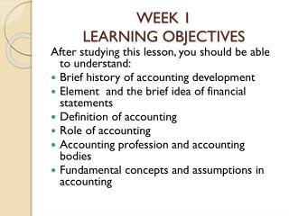 WEEK 1 LEARNING  OBJECTIVES