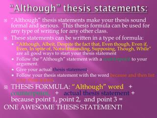 """Although"" thesis statements:"