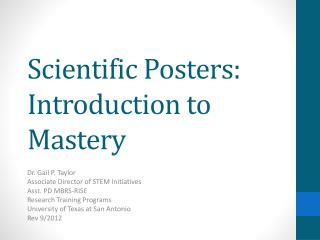 Scientific Posters : Introduction to Mastery