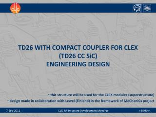 TD26 WITH COMPACT COUPLER FOR CLEX  (TD26 CC SiC) ENGINEERING DESIGN