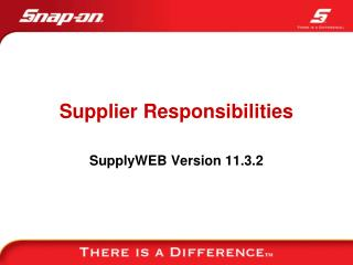 Supplier Responsibilities