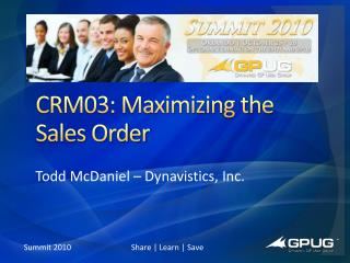 CRM03: Maximizing the Sales Order