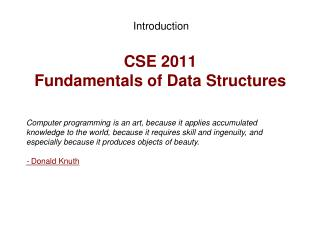 CSE 2011  Fundamentals of Data Structures
