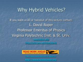 Why Hybrid Vehicles?