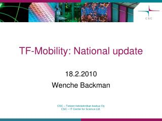 TF-Mobility : National  update
