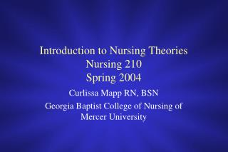 Introduction to Nursing Theories Nursing 210 Spring 2004