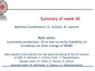 Summary of week 40