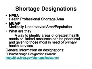 Shortage Designations