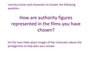 How are authority figures represented in the films you have chosen?