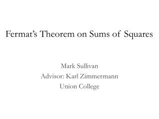 Fermat's Theorem on Sums of Squares