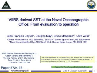 VIIRS-derived SST at the Naval Oceanographic Office: From evaluation to operation
