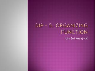 DIP – 5. Organizing Function