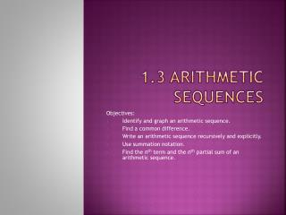 1.3 Arithmetic Sequences