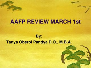 AAFP REVIEW MARCH 1st