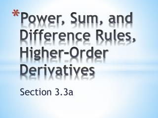 Power, Sum, and Difference Rules, Higher-Order Derivatives