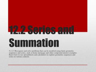 12.2 Series and Summation