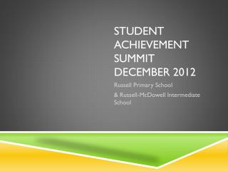 Student Achievement Summit December 2012