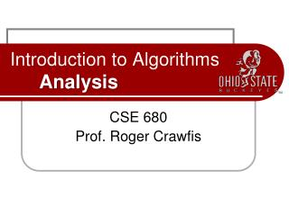 Introduction to Algorithms Analysis