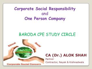Corporate Social Responsibility  and  One Person Company