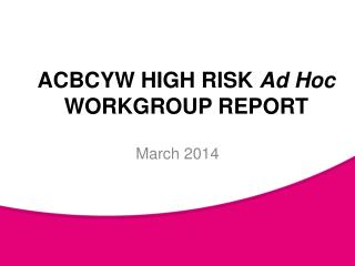 ACBCYW HIGH RISK  Ad Hoc  WORKGROUP REPORT
