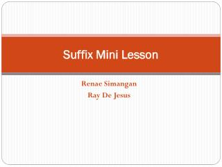 Suffix Mini Lesson