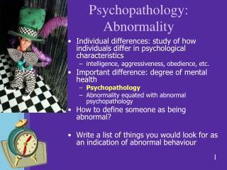 Psychopathology: Abnormality
