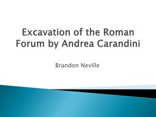 Excavation of the Roman Forum by Andrea  Carandini