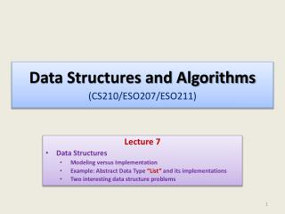 Data Structures and Algorithms (CS210/ESO207/ESO211 )