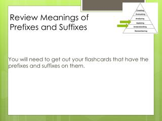 Review Meanings of Prefixes and Suffixes