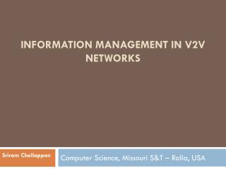 Information  management in V2V networks