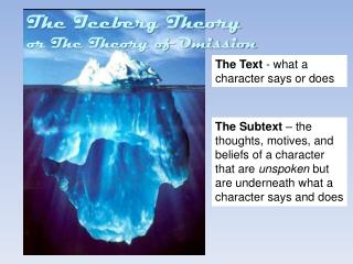 The Text  - what a character  says or does