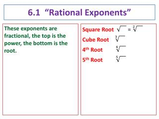 "6.1  ""Rational Exponents"""