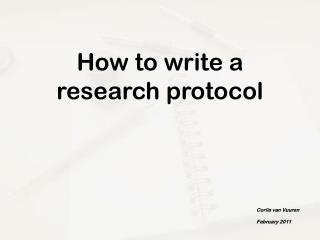 How to write a research protocol