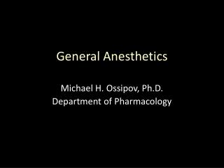Michael H. Ossipov, Ph.D. Department of Pharmacology