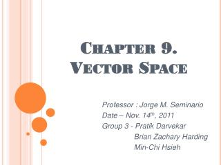 Chapter 9.  Vector Space