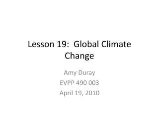 Lesson 19:  Global Climate Change